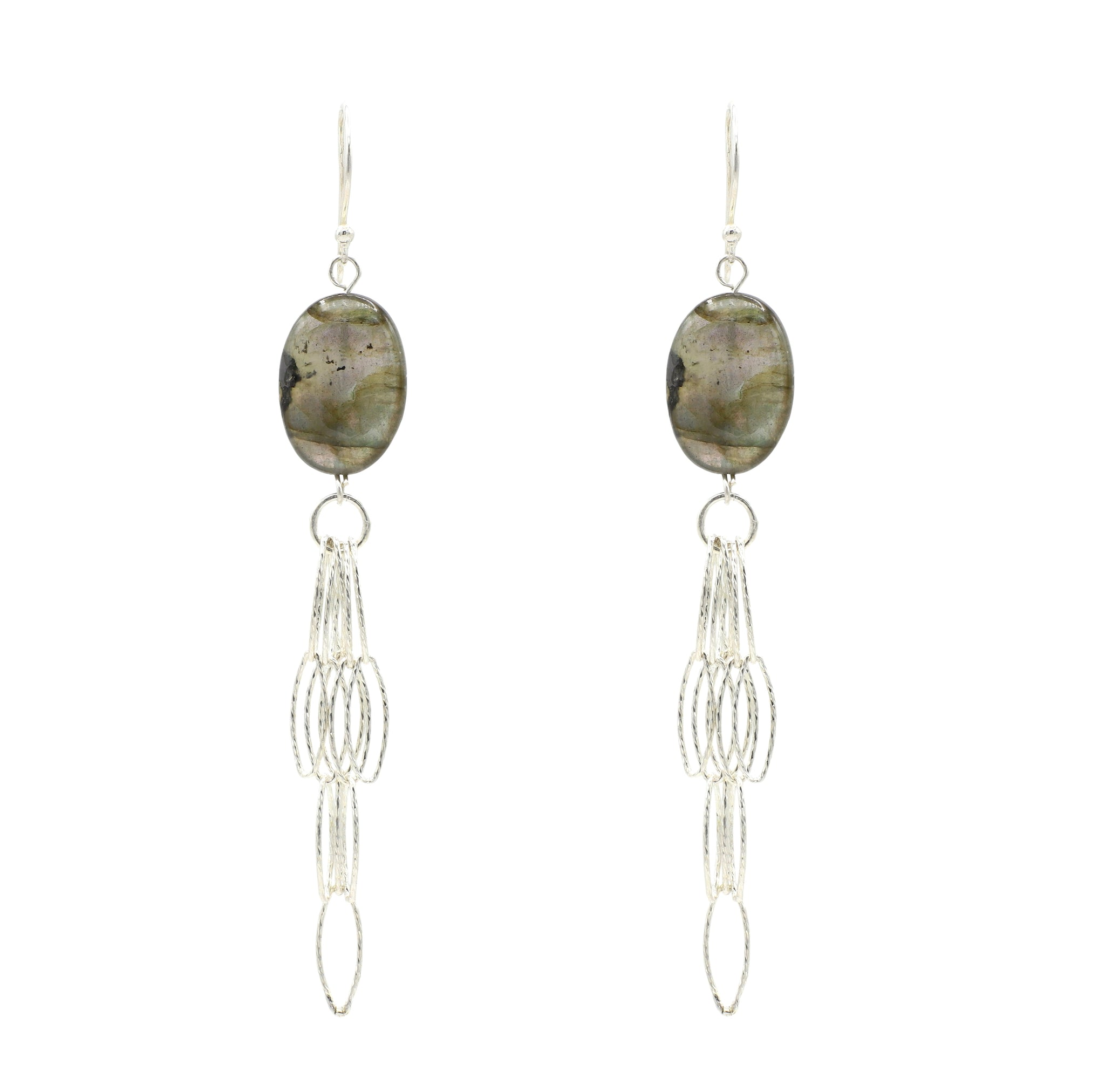 Labradorite Silver Tassel Bottom Earrings