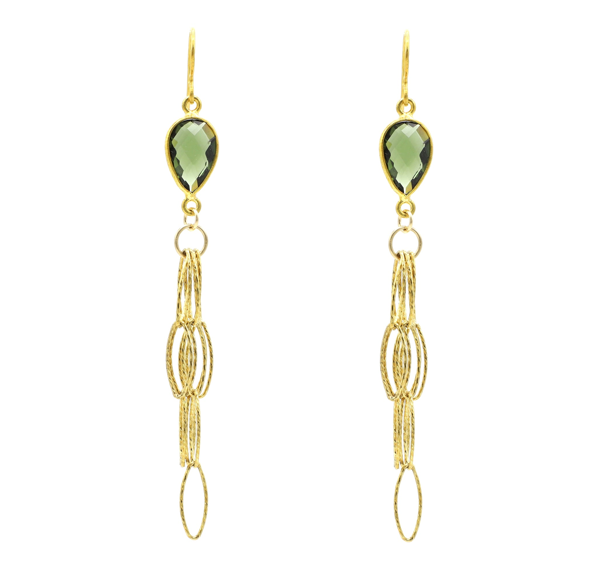 Olive Quartz Tassel Bottom Earrings