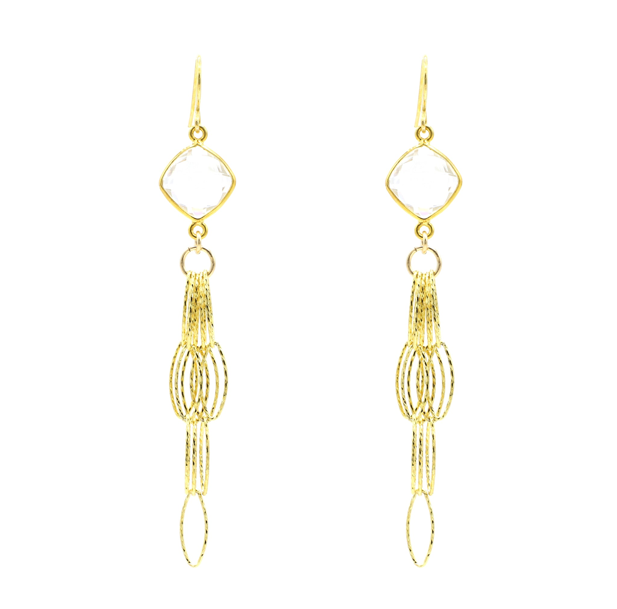 Crystal Quartz Tassel Bottom Earrings