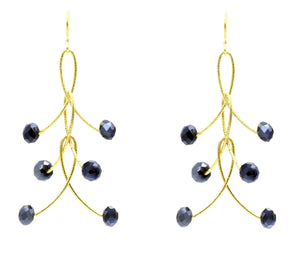 "Black Mystic Crystal Triple ""Orbits"" Earrings"