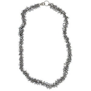 Pyrite Stone Shimmer Necklace, Oxidized Silver