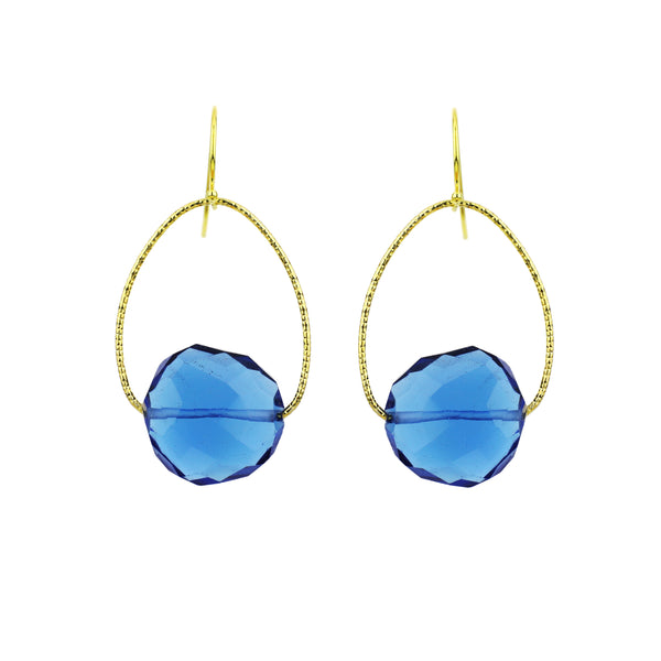 London Blue Quartz Orb Earrings, Gold