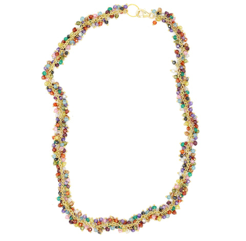 Multi Semi-Precious Colorful Stone Shimmer Necklace, Gold