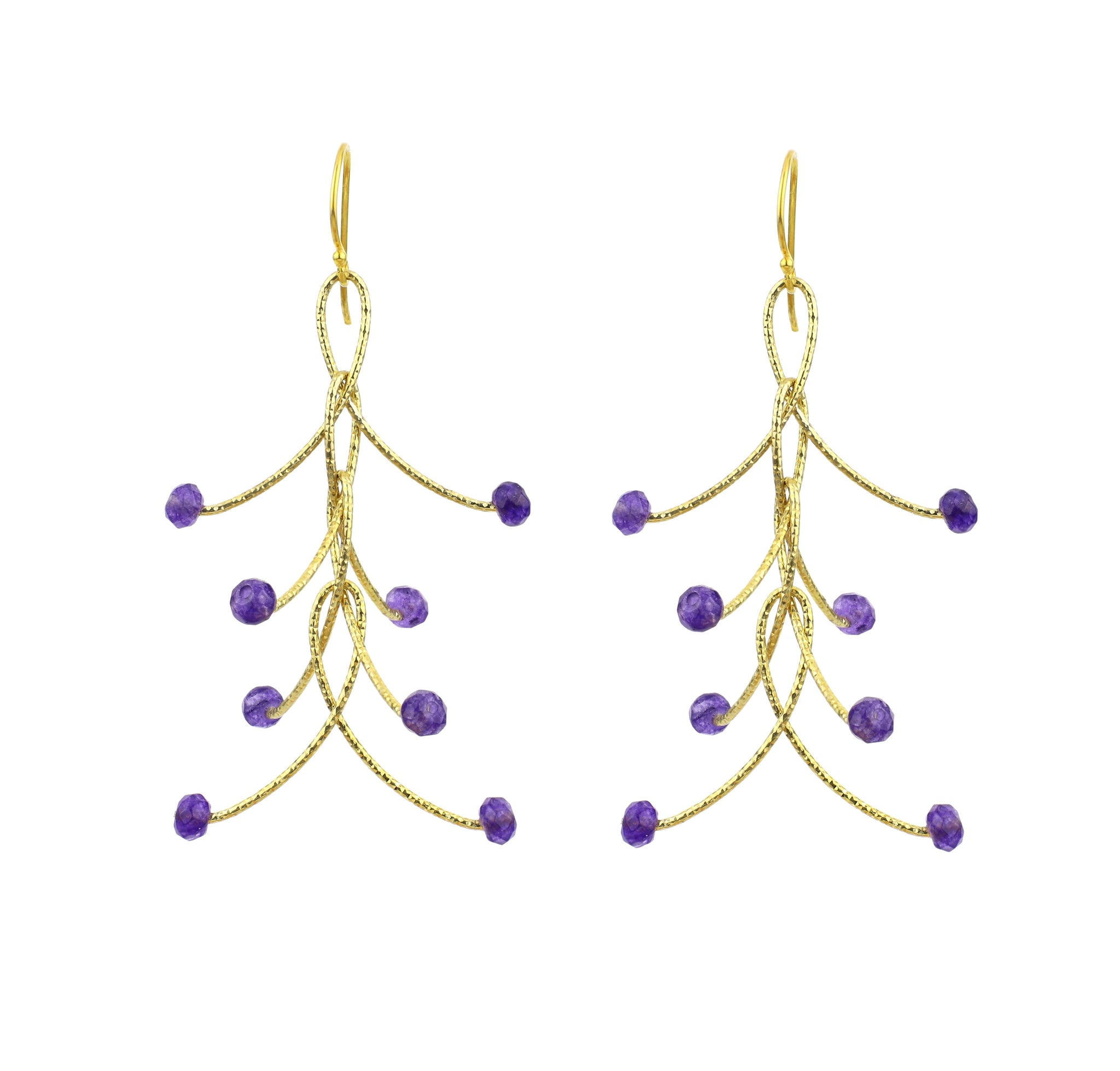 "Amethyst  4 Linked ""Orbits"" Earrings Gold or Silver"