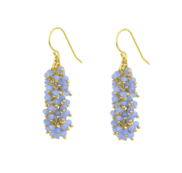"Chalcedony (Lavender Blue) Gemstone MEDIUM ""Shimmer"" Earring"