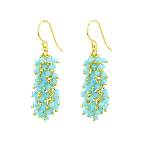 "Chalcedony (Aqua Blue) Gemstone MEDIUM ""Shimmer"" Earring"