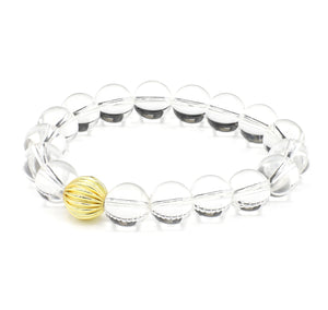 Crystal Clear Quartz Single Stranded Stone Bracelet