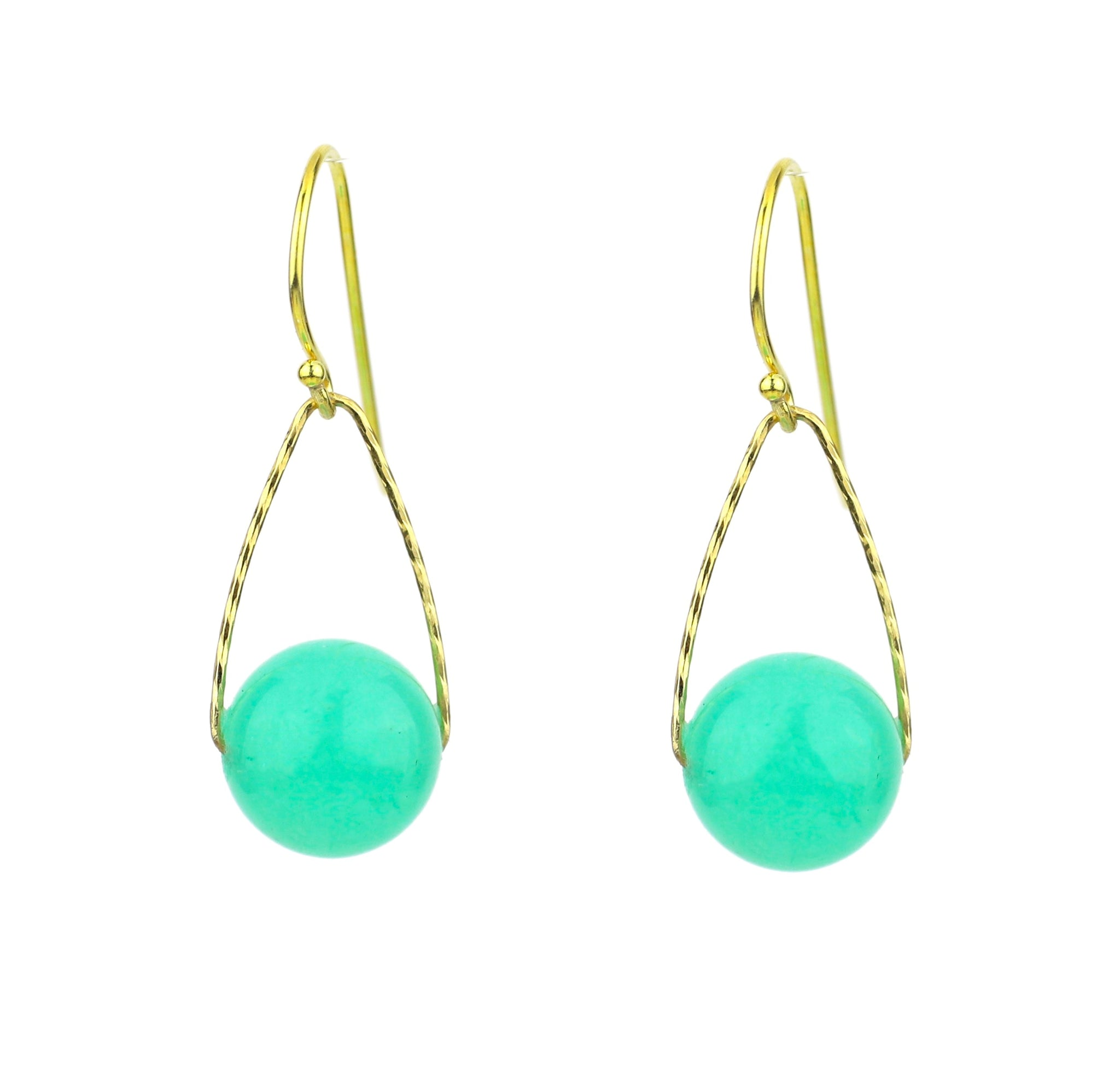 "Jade ""Chrysoprase"" Mini Orb Earrings, Gold"