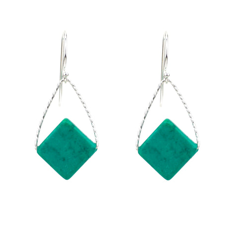 Turquoise Mini Rhombus Orb Earrings, Silver