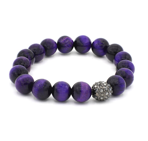 Purple Tiger Eye Single Stranded Stone Bracelet - Oxi Maracasite