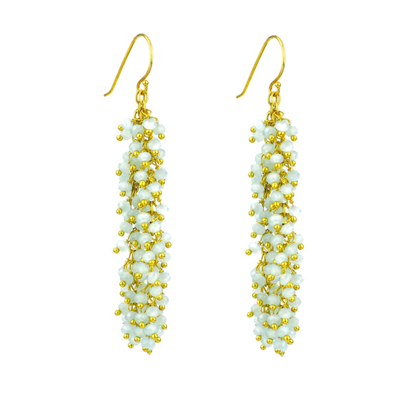 "Chalcedony (Light Blue) Gemstone LONG ""Shimmer"" Earring"