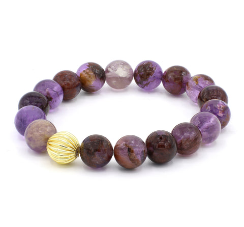 Phantom Purple Quartz Single Stranded Stone Bracelet
