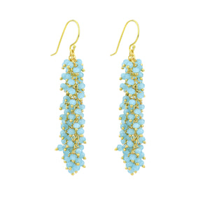 "Chalcedony (Aqua Blue) Gemstone LONG ""Shimmer"" Earring"
