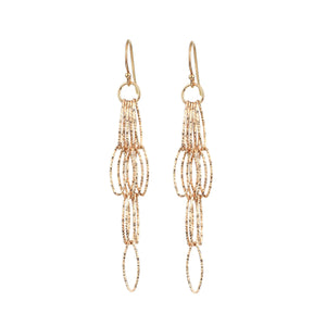 Rose Gold Vermeil Diamond Cut Dreamcatcher Fringe Tassel Earrings