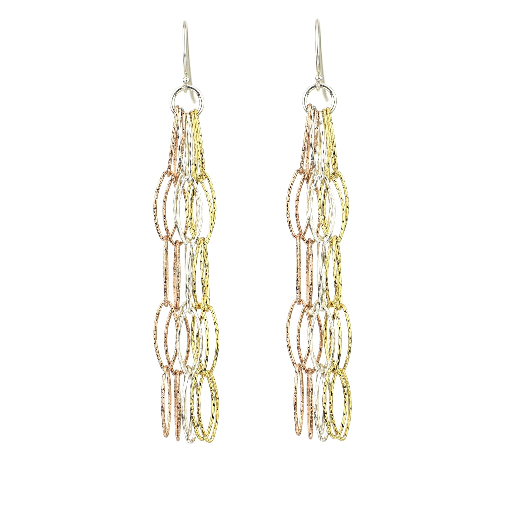 Dreamcatcher TRIO - Rose Gold, Gold Diamond Cut Vermeil & Sterling Silver Diamond Cut EarringsSterling