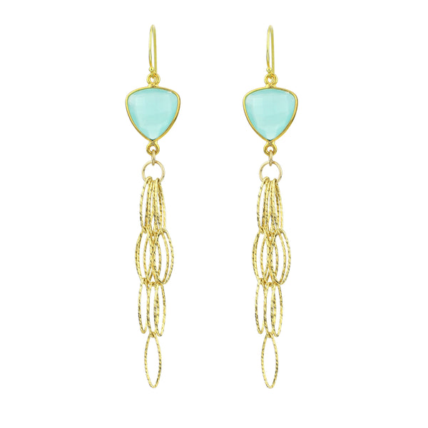 Blue Quartz Tassel Bottom Earrings