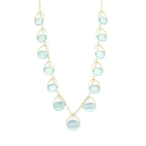 "Blue Quartz Multi Stone Long ""Blossom"" Necklace - Gold Filled"