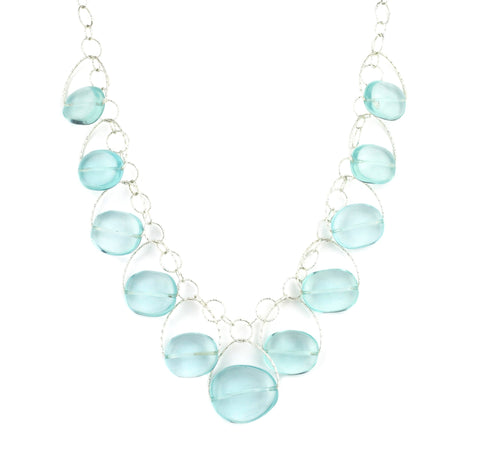 "Blue Quartz Multi Stone ""Blossom"" Necklace"