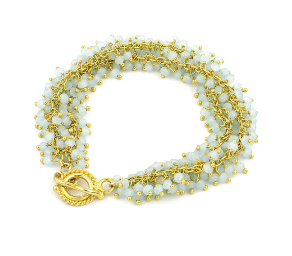 Chalcedony Gemstone Single Shimmer Bracelet