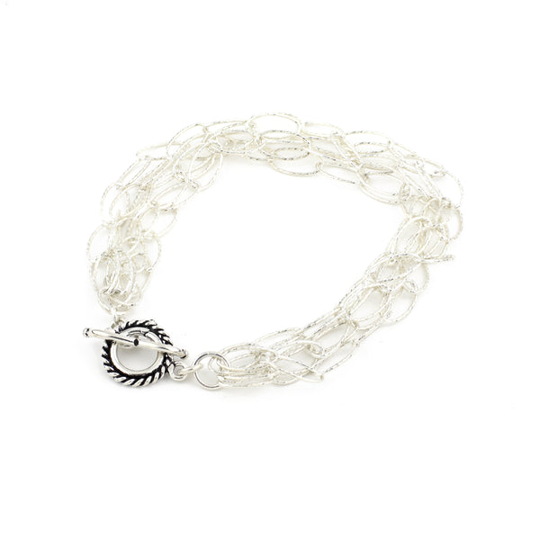 Dreamcatcher 5 Strand Bracelet - Silver Diamond Cut Sterling