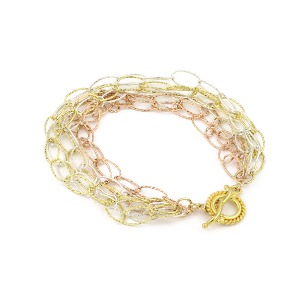Dreamcatcher 6 Strand Bracelet - Rose Gold, Gold Diamond Cut Vermeil & Sterling Silver Diamond Cut Sterling