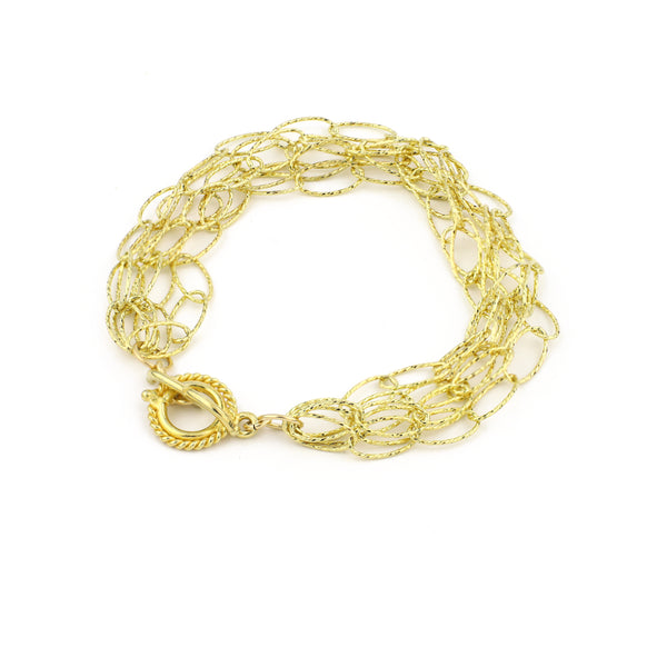 Dreamcatcher 5 Strand Bracelet - Gold Diamond Cut Vermeil