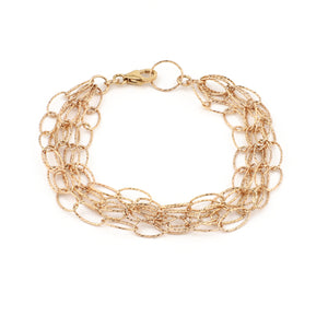 Dreamcatcher 5 Strand Bracelet - Rose Gold Diamond Cut Vermeil
