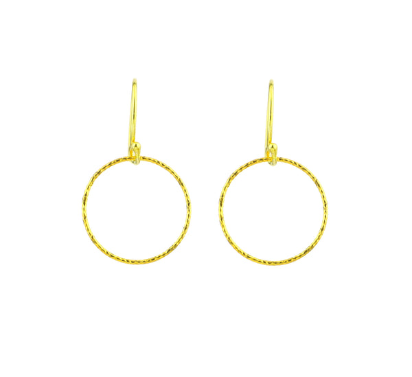 Gold Diamond Cut Vermeil Mini Circle Hoop Earrings