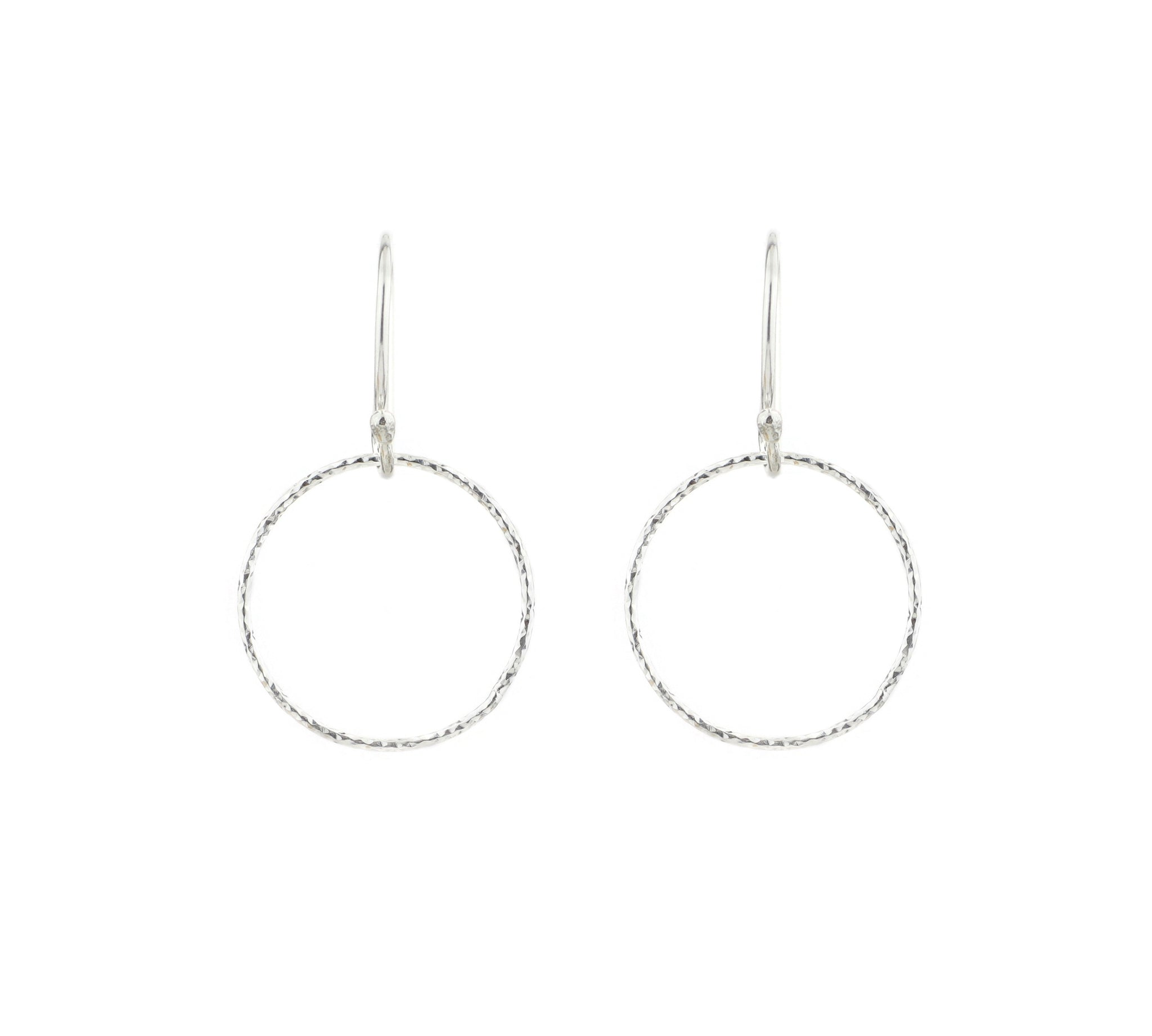 Silver Diamond Cut Small Circle Hoop Earrings