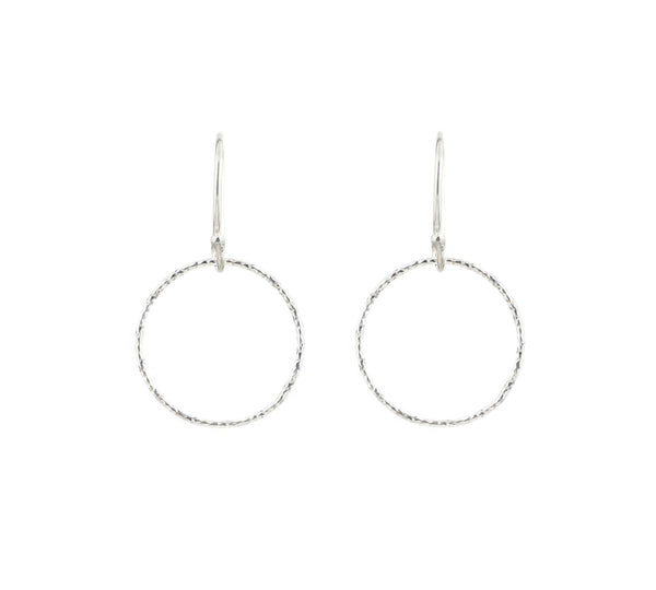 Sterling Silver Diamond Cut Mini Circle Hoop Earrings