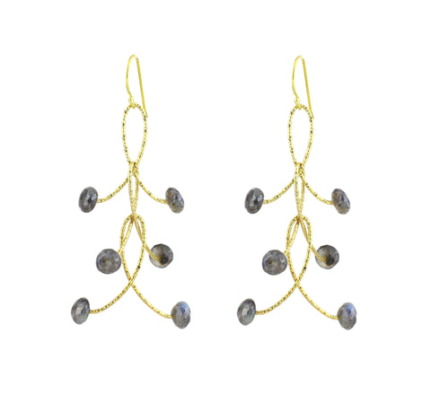 "Labradorite Gemstones Mystic Rondell Triple ""Orbits"" Earrings Gold or Silver"