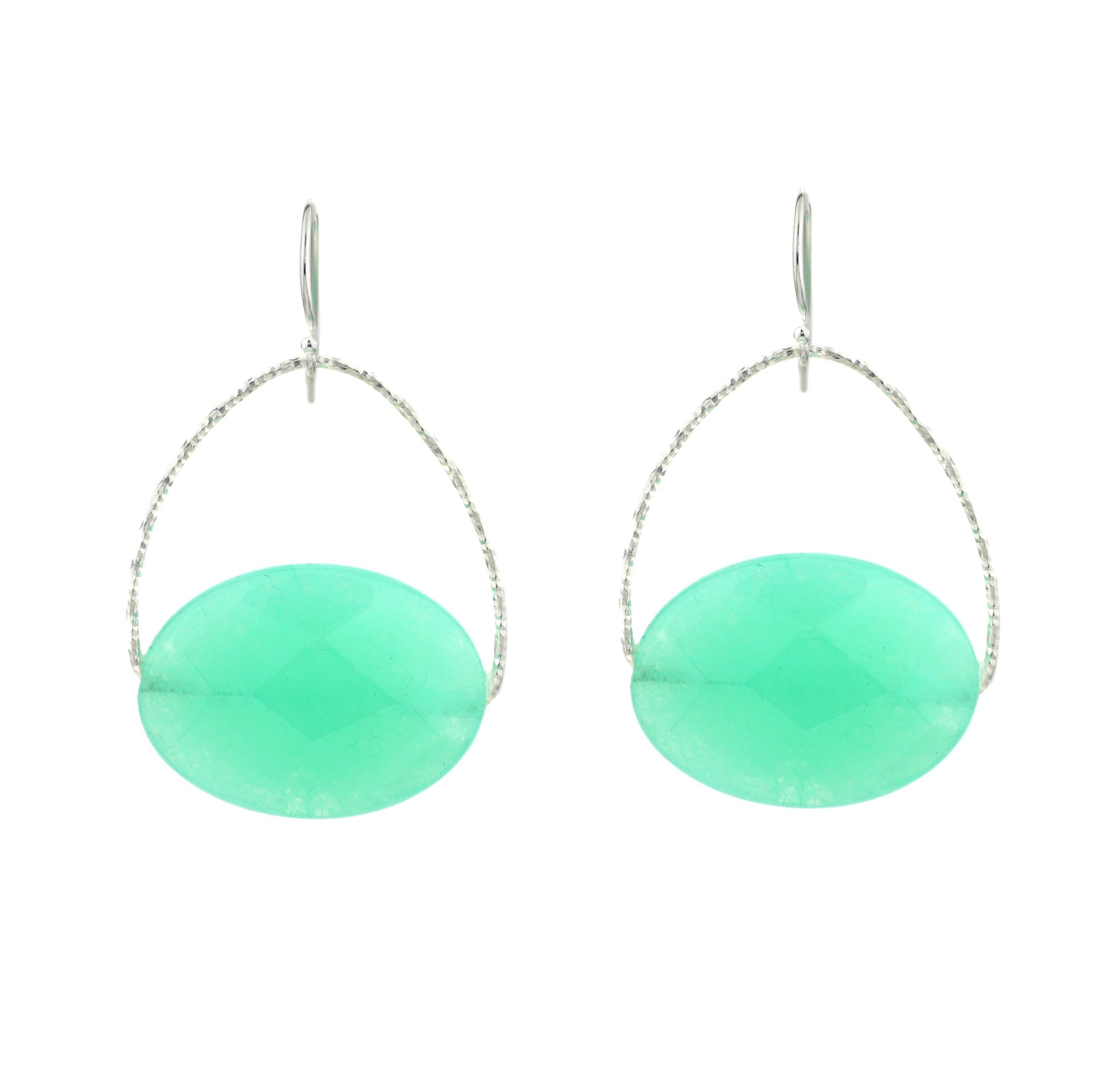 "Jade ""Chrysoprase"" Large Orb Earrings, Silver"