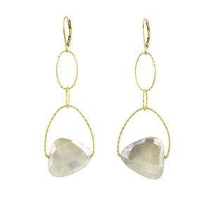 Cream Faceted Moonstone Lovelier Earrings
