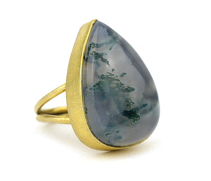 Moss Agate 10kt Gold Ring Teardrop round oval rectangle square free form opal labradorite