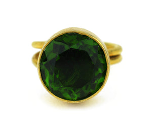 Green Quartz Faceted Round Cut 10kt Gold Ring