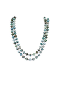 Silverite Necklace Blue Gemstone- Oxidized Silver