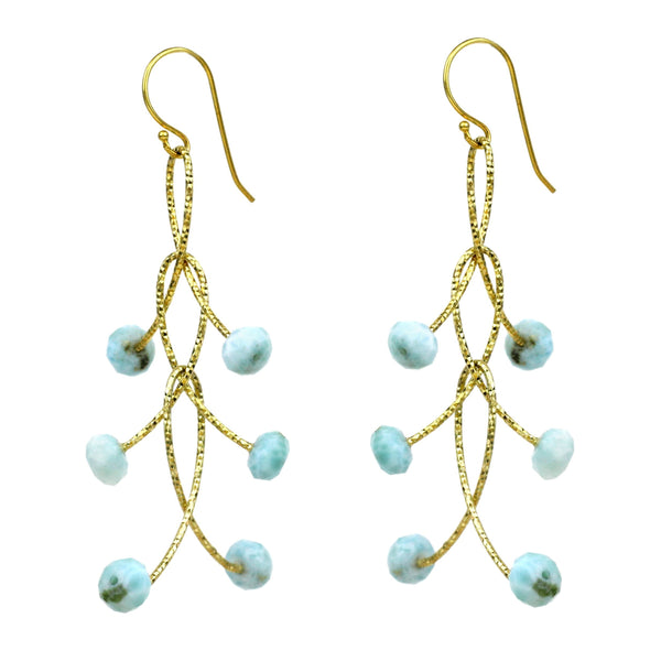 "Larimar Triple ""Orbits"" Earrings, Gold silver turquoise chrysocolla google facebook youtube"