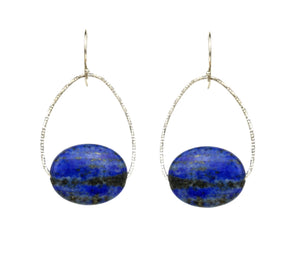 Lapis Oval Orb Earrings, Silver