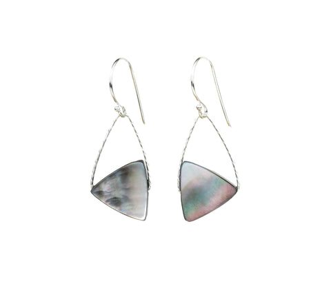 Tahitian Mother of Pearl Mini Orb Earrings, Silver gold small gemstones shell abalone