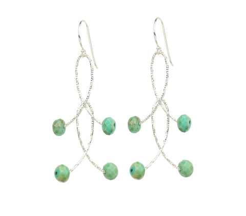 "Blue Peruvian Opal Double ""Orbits"" Earrings"