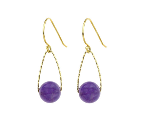 Amethyst Mini Orbs Earrings, Gold small gemstone rose quartz labradorite rutuilated silver moonstone jade