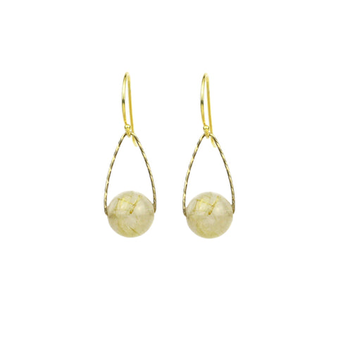 Rutilated Golden Quartz Mini Orb Earrings, Gold