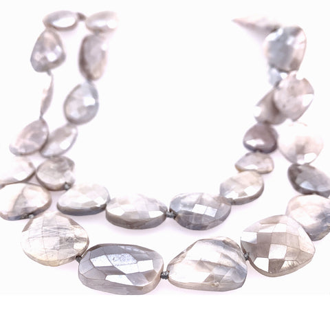 Nude Taupe Moonstone Faceted 42' Knotted Necklace google facebook pinterest instagram