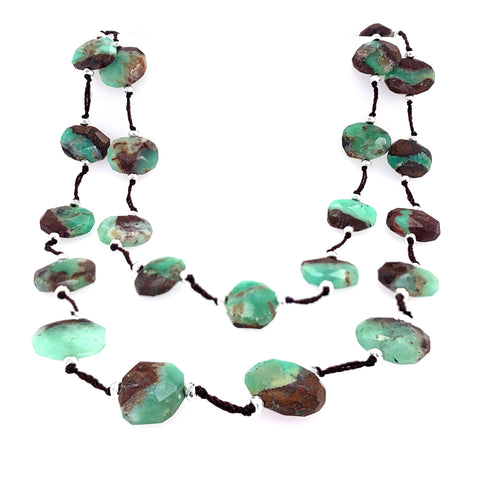 Chrysoprase w/ Silver Hematite Knotted Long Necklace google facebook