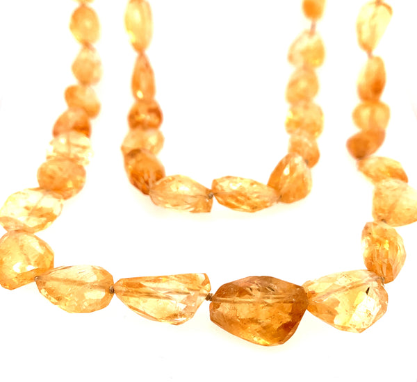 "Exquisite Golden Citrine Faceted 40"" Knotted Necklace"