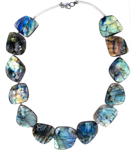 "Exquisite Large Labradorite Faceted Stone 18"" Necklace"