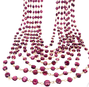"Stunning Garnet 8 Strand ""Cleo"" Necklace - Gold"