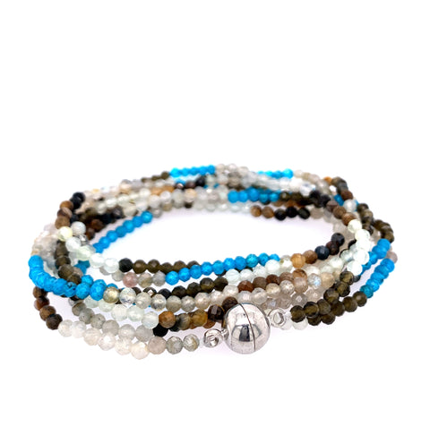 "Mukite Ombre Faceted Semi-Precious Multi Wear 52"" Long Necklace or Wrap Bracelet Gorgeous mixture of ombre mystic moonstones - in pinks, creams, blue aquas google youtube facebook pinterest instagram apatite moonstone"
