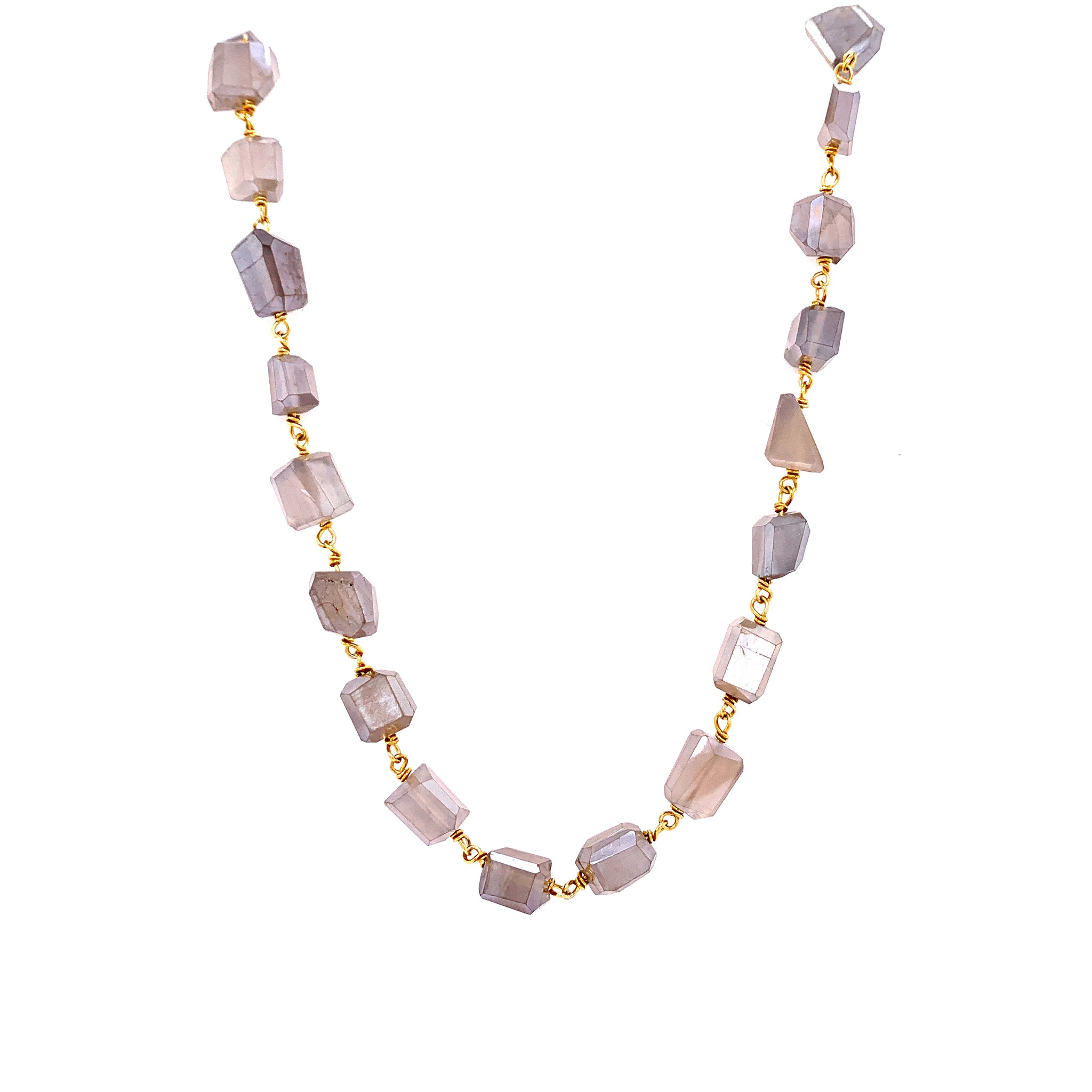 Mystic Nude Moonstone Linked Necklace, Gold