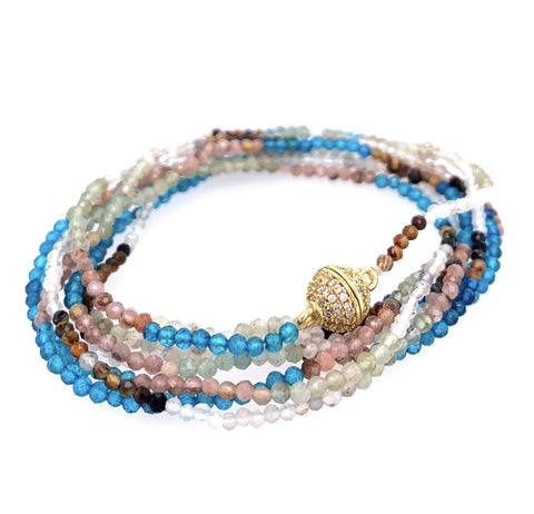 Gorgeous Moonstone (rainbow), Apatite, Prenite and Tiger Eye in an Aztec Design Sparkly AAA Semi Precious Faceted Stones google pinterest facebook instagram